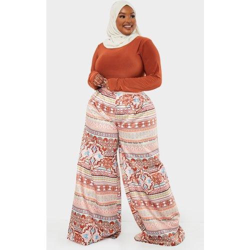 PLT Plus - Pantalon ample plissé imprimé cachemire - PrettyLittleThing - Modalova