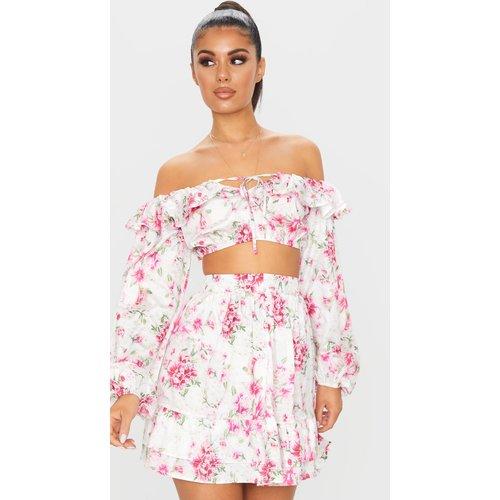Mini-jupe taille haute à imprimé floral et volants - PrettyLittleThing - Modalova