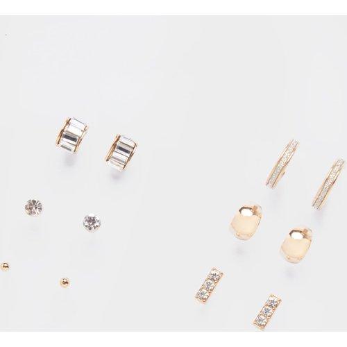 Lot de 6 boucles d'oreilles design clou, strass et mini-créoles - PrettyLittleThing - Modalova