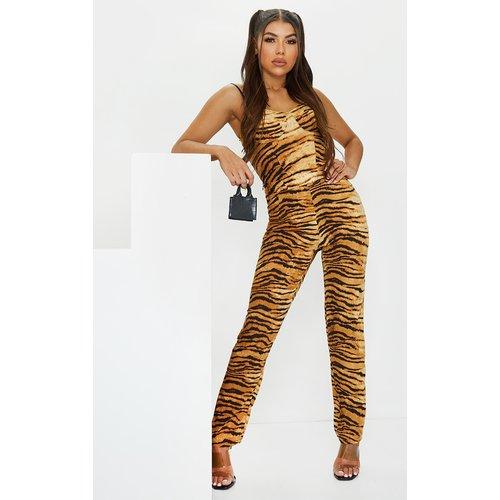 Pantalon cigarette imprimé tigre marron à taille haute - PrettyLittleThing - Modalova