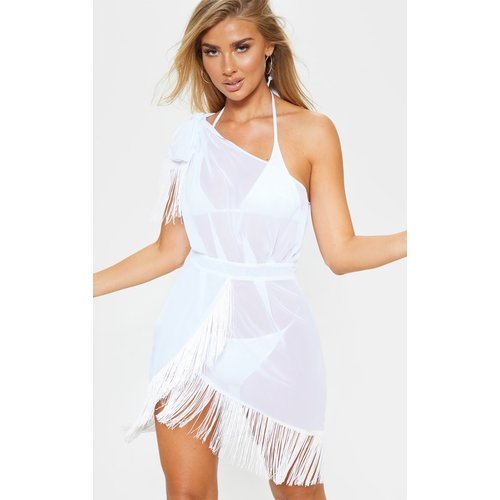 Robe de plage asymétrique à franges blanche - PrettyLittleThing - Modalova