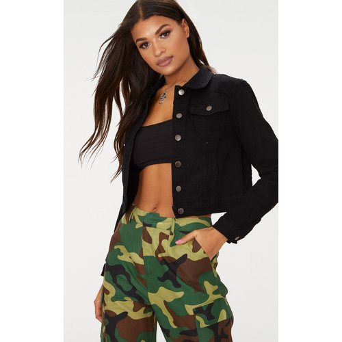 Veste en jean courte noire, Noir - PrettyLittleThing - Modalova