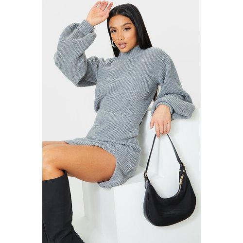 Petite - Pull court oversize en maille tricot à manches ballon - PrettyLittleThing - Modalova