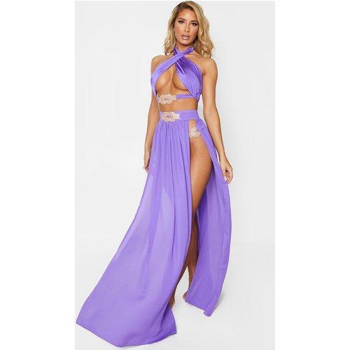 Jupe de plage violette en mousseline de soie à pierres fantaisie - PrettyLittleThing - Modalova