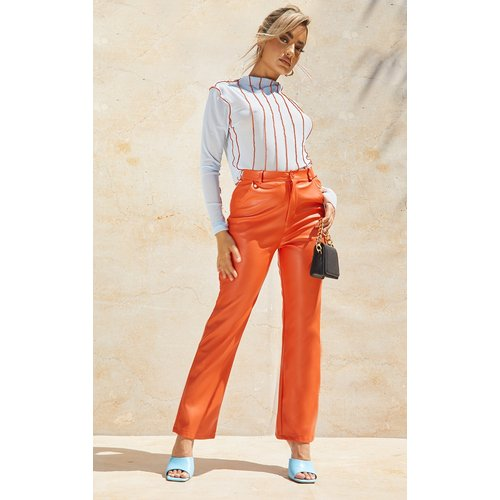 Petite - Pantalon droit en similicuir - PrettyLittleThing - Modalova