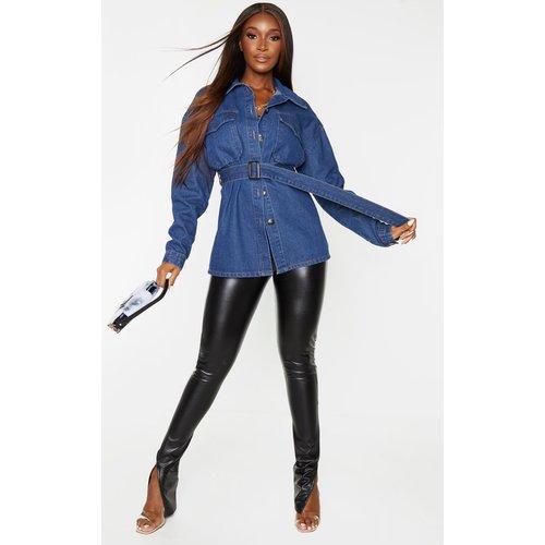 Veste longue oversize en jean délavé bleu foncé - PrettyLittleThing - Modalova