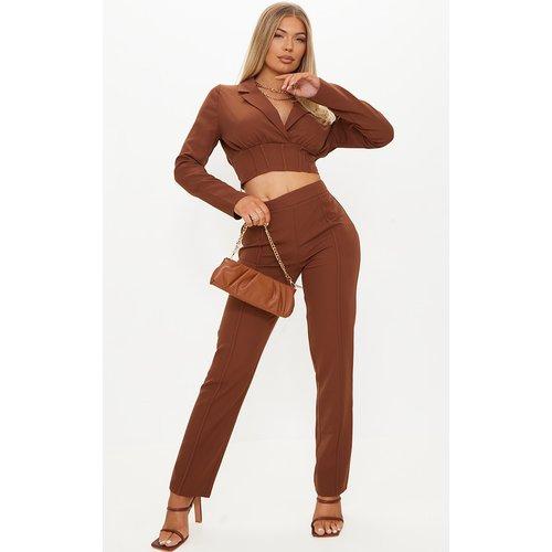 Pantalon cigarette en maille tissée à détail coutures - PrettyLittleThing - Modalova