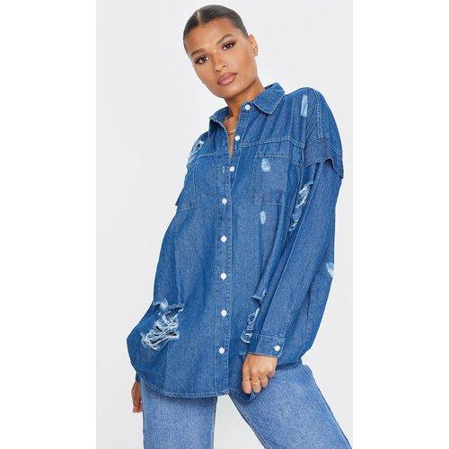 Chemise en jean délavé oversize déchiré - PrettyLittleThing - Modalova