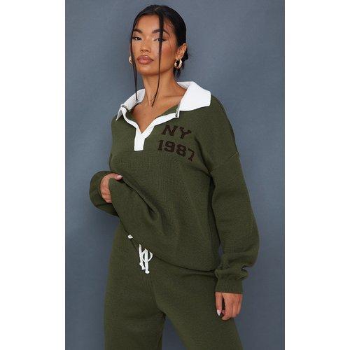 Pull en maille tricot à col et slogan NY - PrettyLittleThing - Modalova