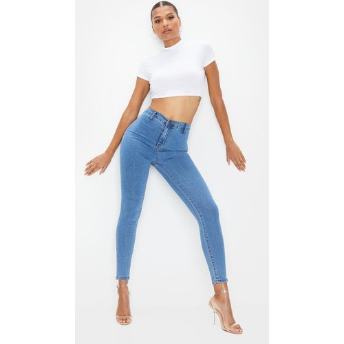 Jean disco skinny moyennement délavé - PrettyLittleThing - Modalova