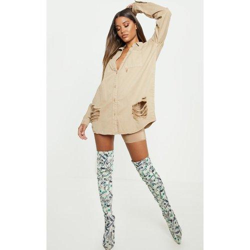 Chemise en jean oversize déchiré - PrettyLittleThing - Modalova
