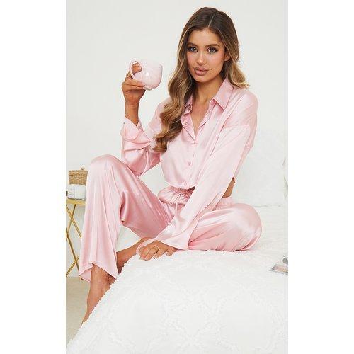 Ensemble de pyjama satiné à chemise courte et pantalon large - PrettyLittleThing - Modalova