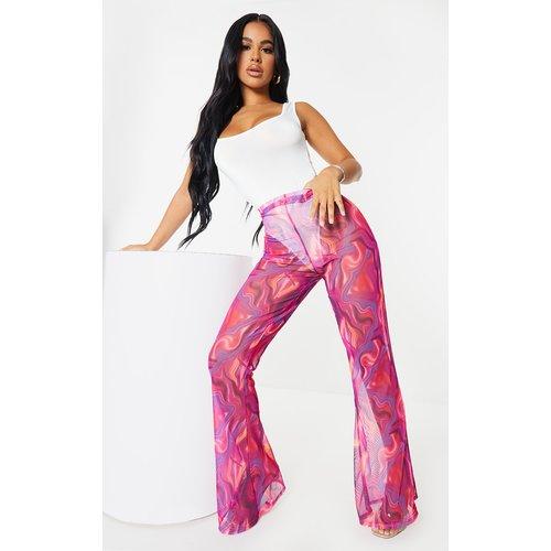 Petite - Pantalon ample imprimé vagues abstraites en mesh à taille haute - PrettyLittleThing - Modalova