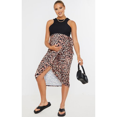 PLT Maternité - Jupe mi-longue portefeuille imprimée léopard - PrettyLittleThing - Modalova