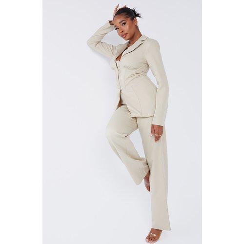 Pantalon droit en maille tissée à taille haute - PrettyLittleThing - Modalova