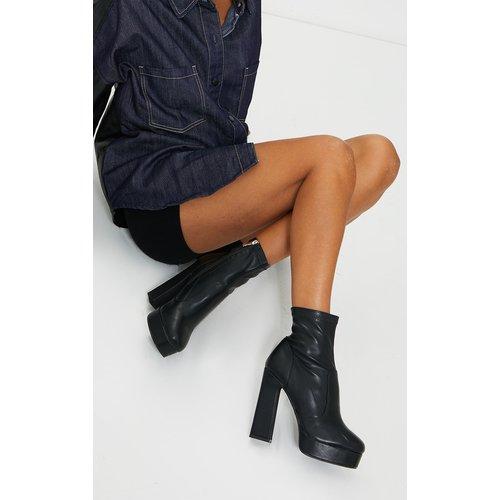 Bottes-chaussettes en similicuir à talon bloc et plateforme - PrettyLittleThing - Modalova