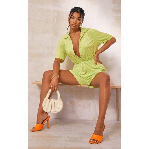 Combishort vert pâle en éponge à chemise manches courtes - PrettyLittleThing - Modalova