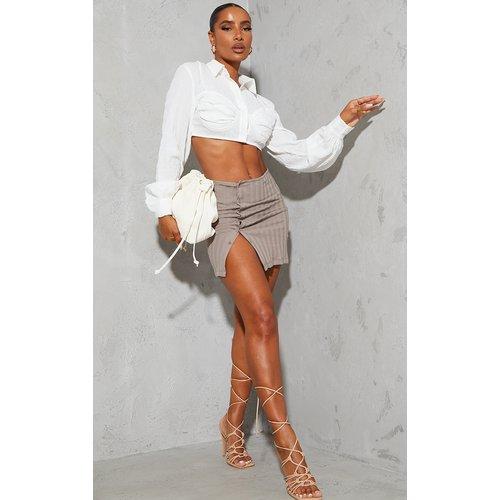 Mini-jupe en coton à boutons et côtes larges - PrettyLittleThing - Modalova