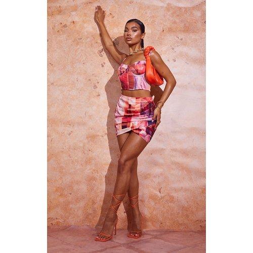 Mini jupe portefeuille imprimé abstrait en maille tissée - PrettyLittleThing - Modalova