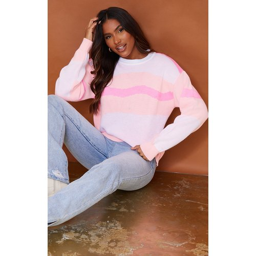 Pull en maille tricot colourblock tourbillon - PrettyLittleThing - Modalova