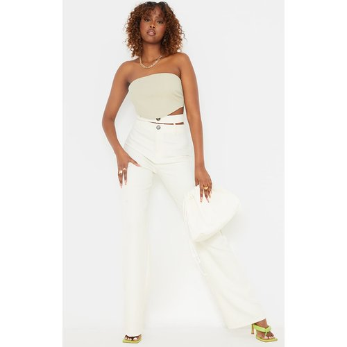 Pantalon flare en maille blanche à double bande - PrettyLittleThing - Modalova