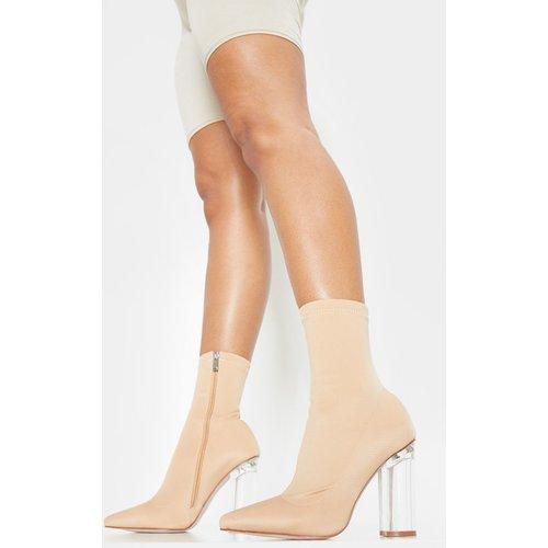 Bottines chausettes nude à talons bloc transparents - PrettyLittleThing - Modalova