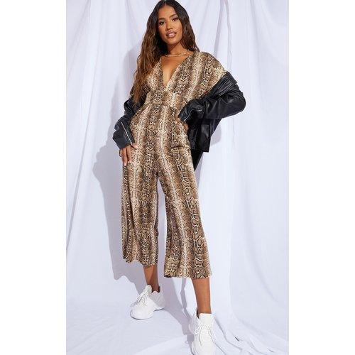 Combinaison jupe-culotte décolletée imprimée serpent - PrettyLittleThing - Modalova