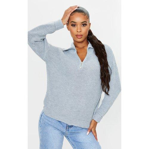 Pull oversize en maille tricot zippé - PrettyLittleThing - Modalova