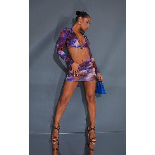 Mini-jupe moulante imprimée tie & dye violette - PrettyLittleThing - Modalova
