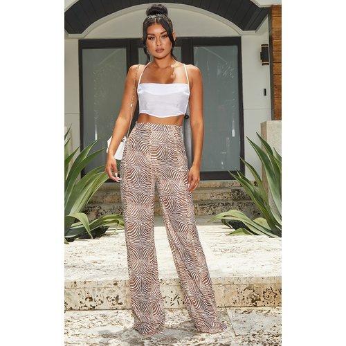 Pantalon flare camel imprimé zébrures - PrettyLittleThing - Modalova