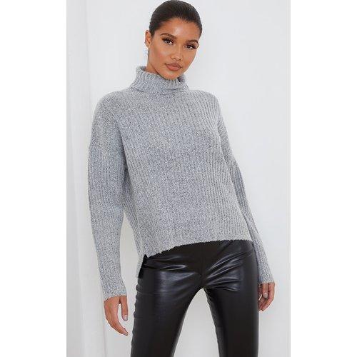 Pull côtelé en maille tricot élastique à col roulé - PrettyLittleThing - Modalova