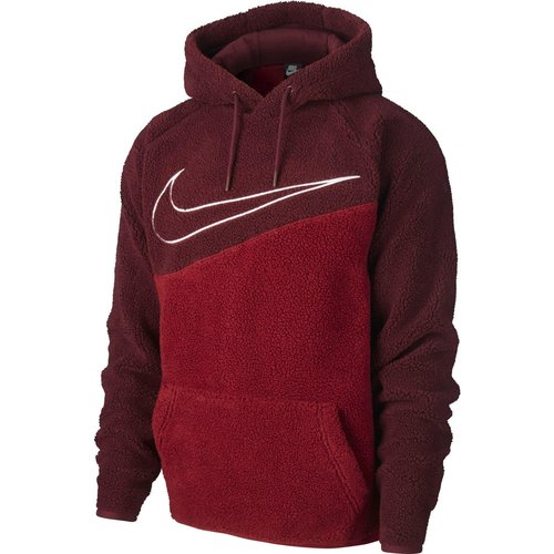 Nike Mens Nike Swoosh Cosy Fleece Pullover Hoody -  Red