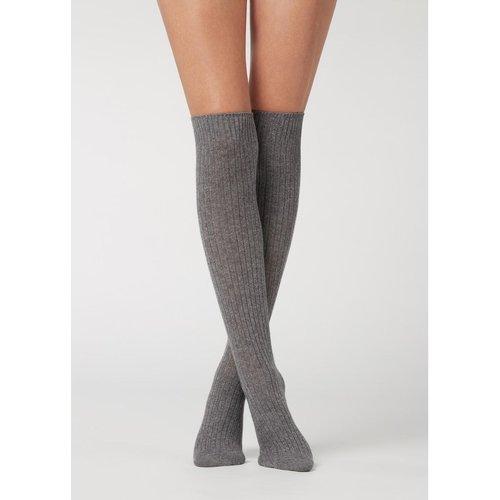 Chaussettes hautes côtelées avec laine et cachemire - CALZEDONIA - Modalova