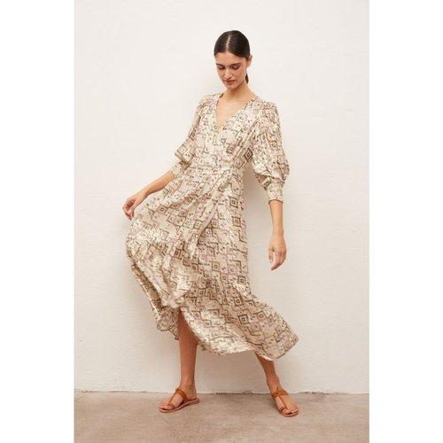Robe longue imprimée en soie mélangée et Fil textile SOLANGE - Gerard Darel - Modalova