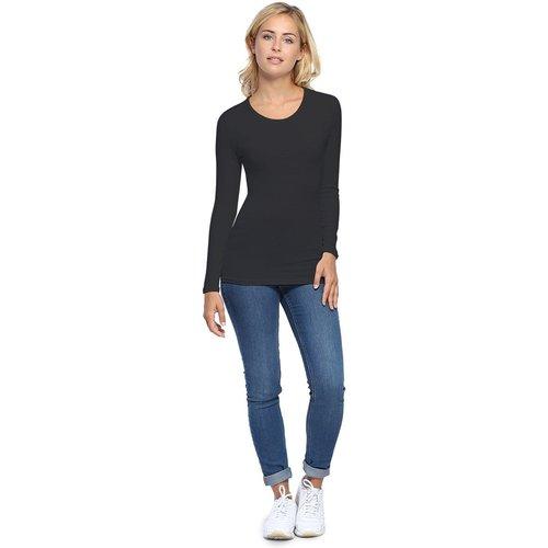 T-shirt ras du cou manches longues en modal KATY05 - RENDEZ-VOUS PARIS - Modalova