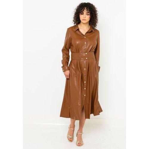 Robe chemise en simili - CAMAIEU - Modalova