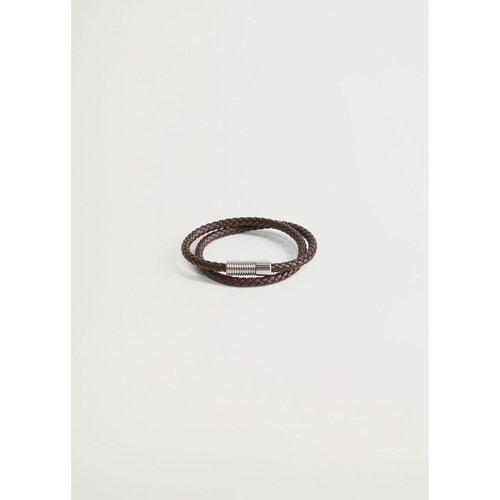 Bracelet cuir tressé - mango man - Modalova