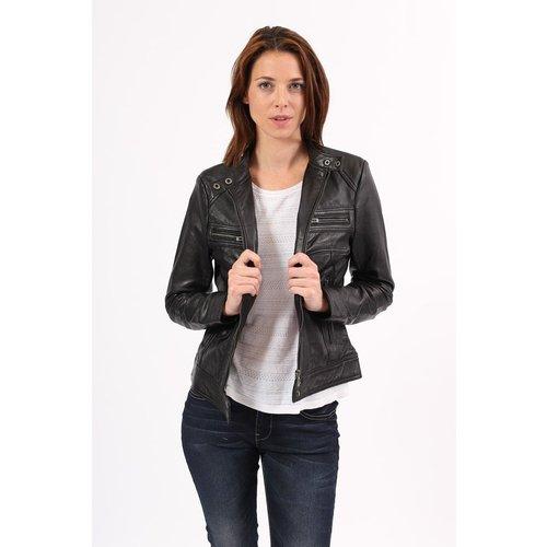 Blouson cuir Sarah coupe perfecto style biker - CHYSTON - Modalova