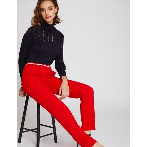 Pantalon droit taille haute ceinturé - Morgan - Modalova