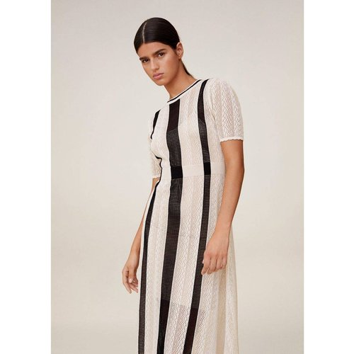 Robe bicolore ajourée - Mango - Modalova