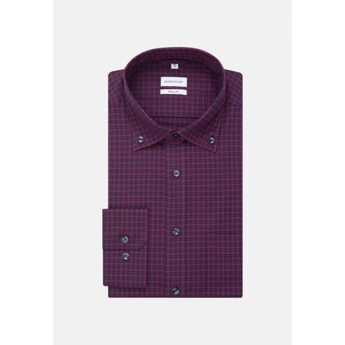 Chemise droite carreaux col boutonné sans repassage - seidensticker - Modalova