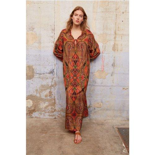 Robe longue en soie imprimée façon tunique SAHANA - Gerard Darel - Modalova
