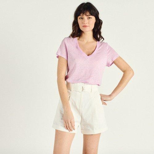 T-shirt en lin à manches courtes col V ASTREE - ARTLOVE - Modalova