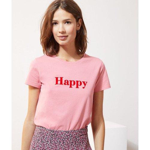 T-shirt manches courtes col rond WORD - ETAM - Modalova