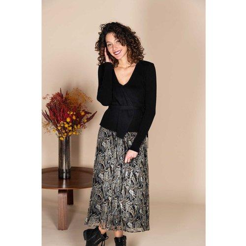 Robe mi-longue jupe imprimée et top uni - Modèle Ecarlate - DERHY - Modalova