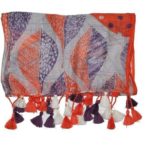 Foulard imprimé et bordé de pompons de couleurs - DERHY - Modalova