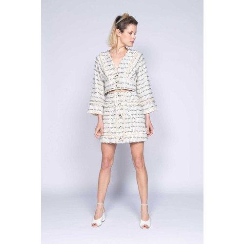 Jupe droite en tweed frangé avec boutonnage devant - DERHY - Modalova