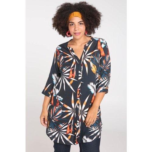 Tunique chemise imprimé feuilles col tunisien manches 3/4 - PAPRIKA - Modalova