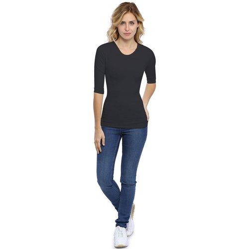 T-shirt ras du cou manches 3-4 en modal KATY04 - RENDEZ-VOUS PARIS - Modalova