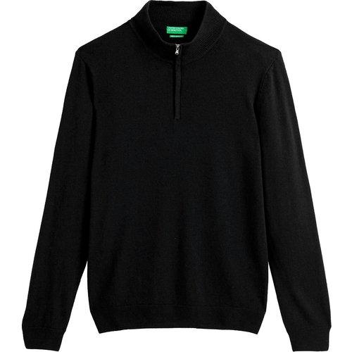 Pull col montant zippé en laine vierge - Benetton - Modalova